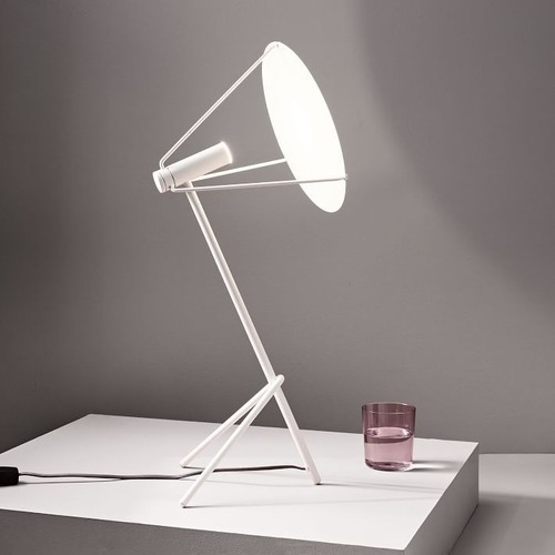 Used West Elm Powell LED Table Lamp in Satin White for sale on AptDeco