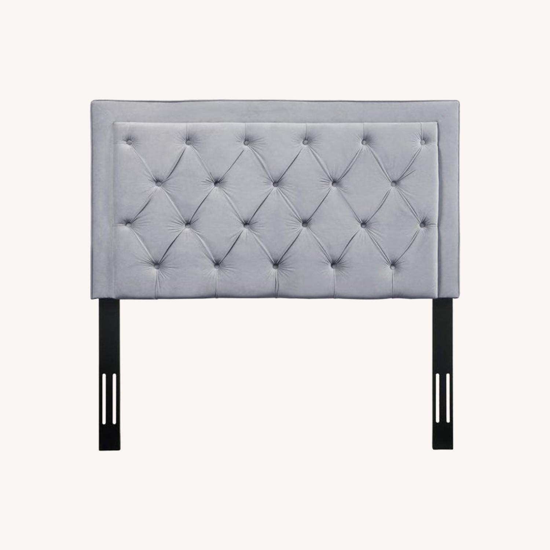 Velvet Grey Upholstered Headboard - image-0