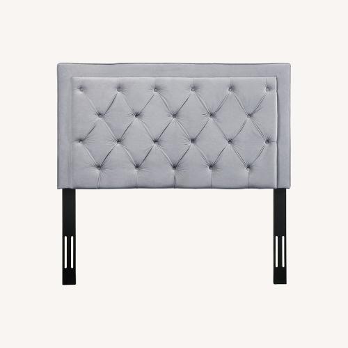 Used Velvet Grey Upholstered Headboard for sale on AptDeco