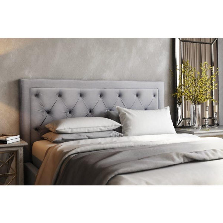 Velvet Grey Upholstered Headboard - image-1