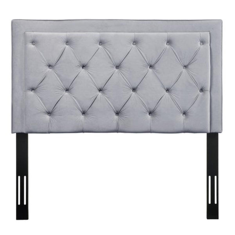 Velvet Grey Upholstered Headboard - image-2