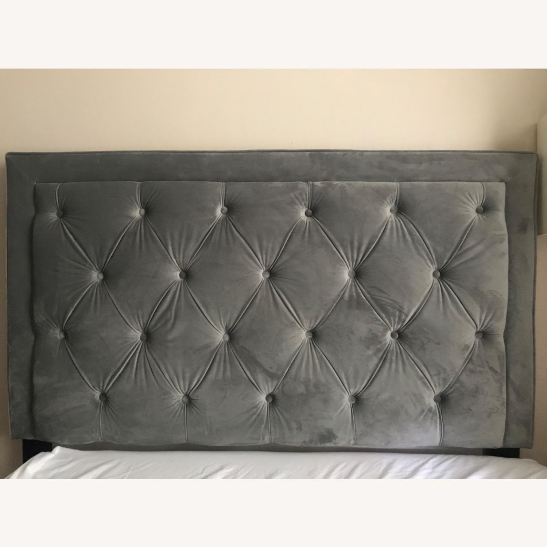 Velvet Grey Upholstered Headboard - image-4