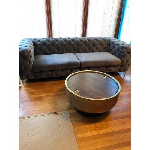 Used Corvus Aosta Tufted Velvet Chesterfield Sofa-Grey for sale on AptDeco