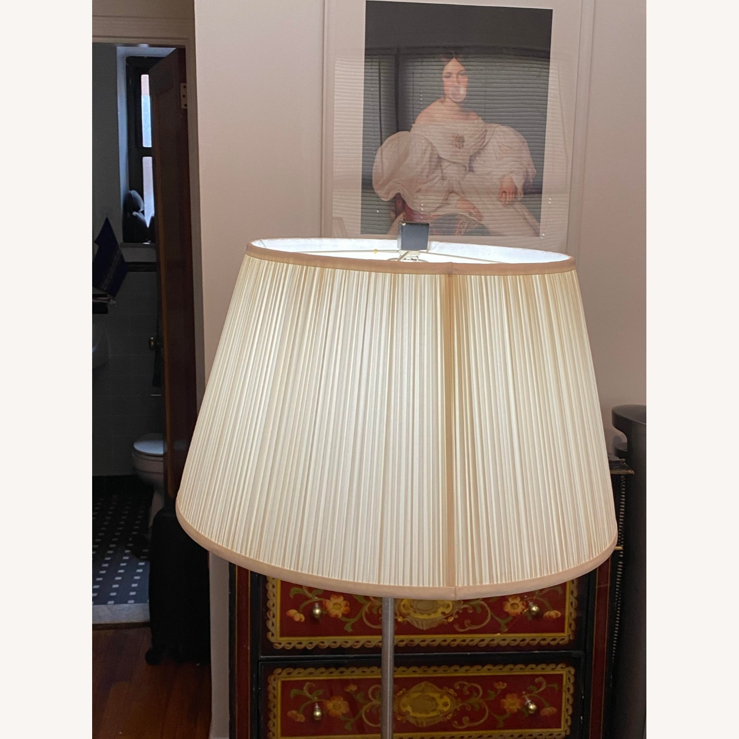 Glass Tray Table Floor Lamp w/ Drum Shade - image-2