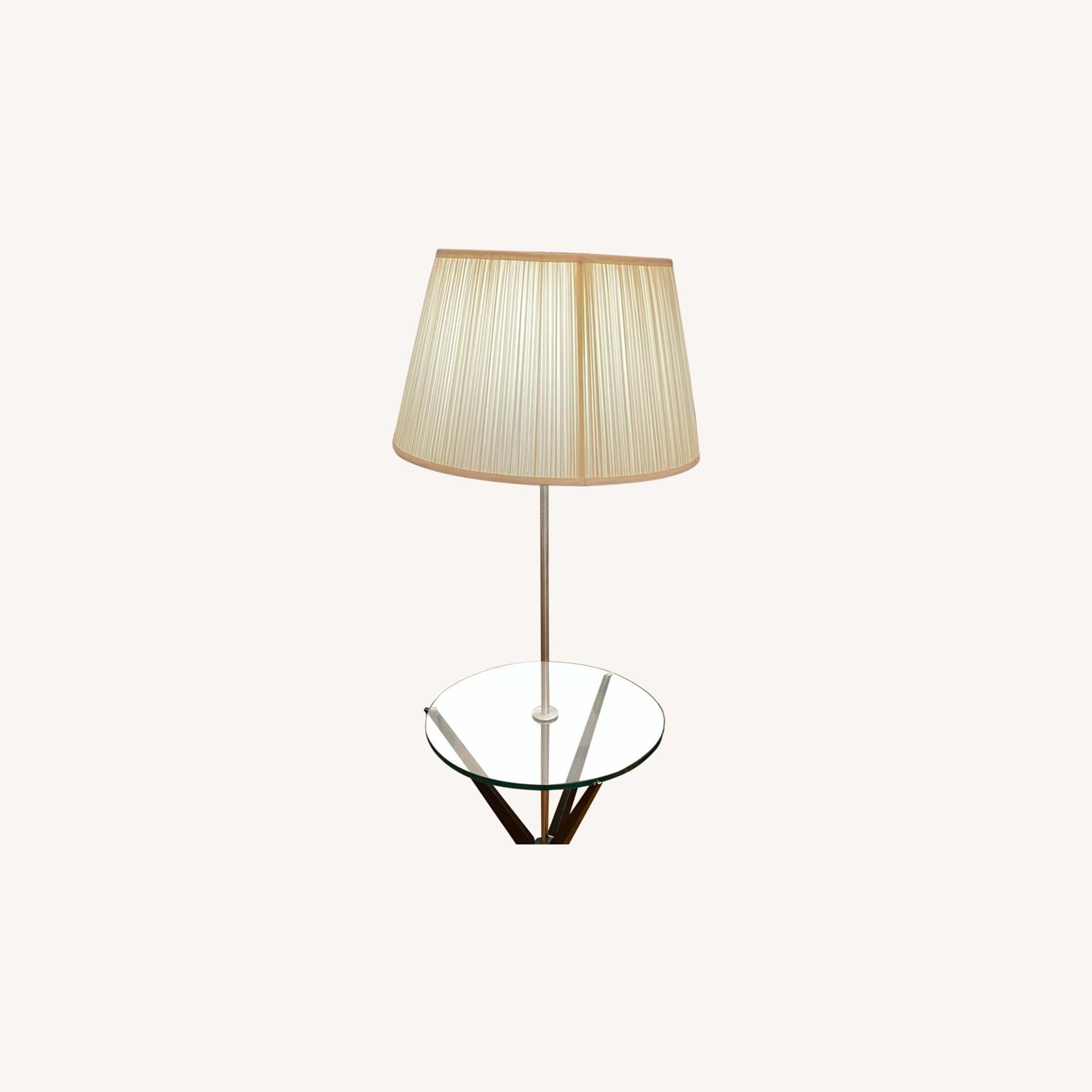 Glass Tray Table Floor Lamp w/ Drum Shade - image-0