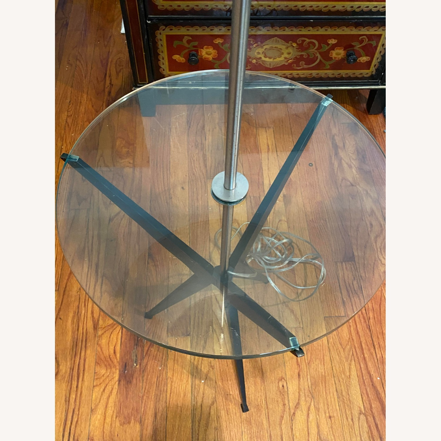 Glass Tray Table Floor Lamp w/ Drum Shade - image-7