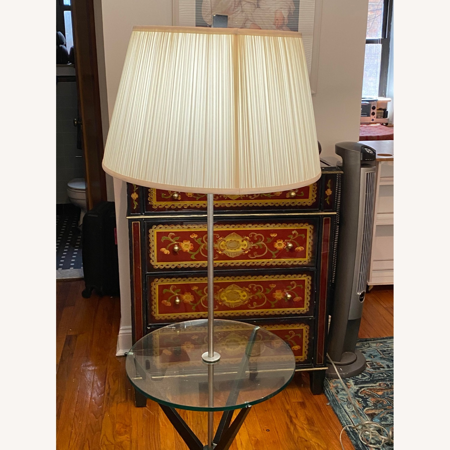 Glass Tray Table Floor Lamp w/ Drum Shade - image-1