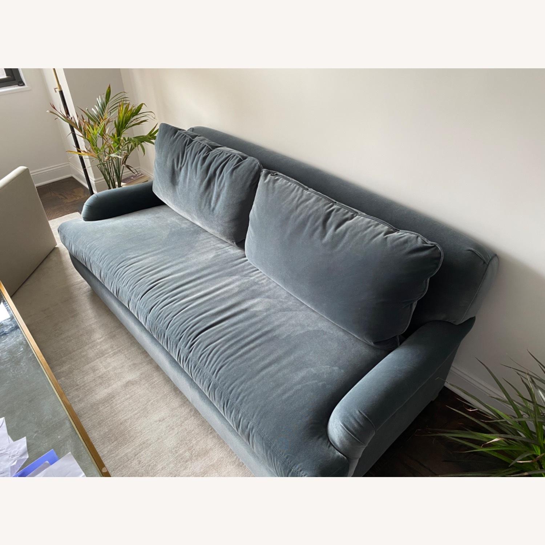 Slate Blue Belgian Roll Arm Sofa - image-2