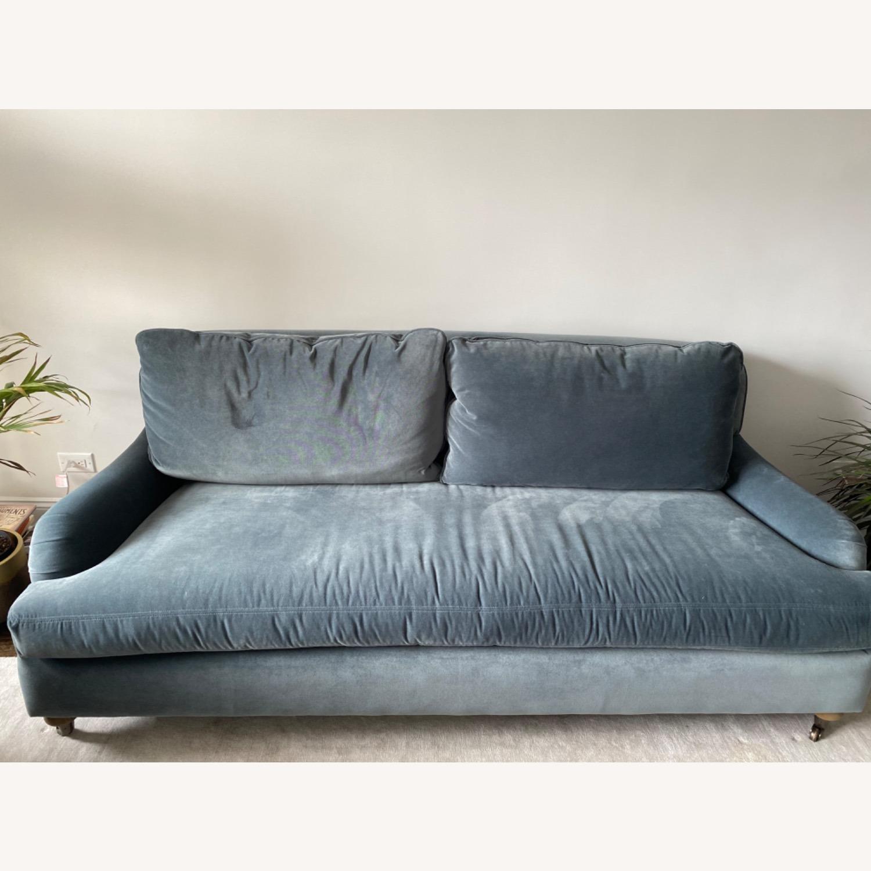Slate Blue Belgian Roll Arm Sofa - image-0
