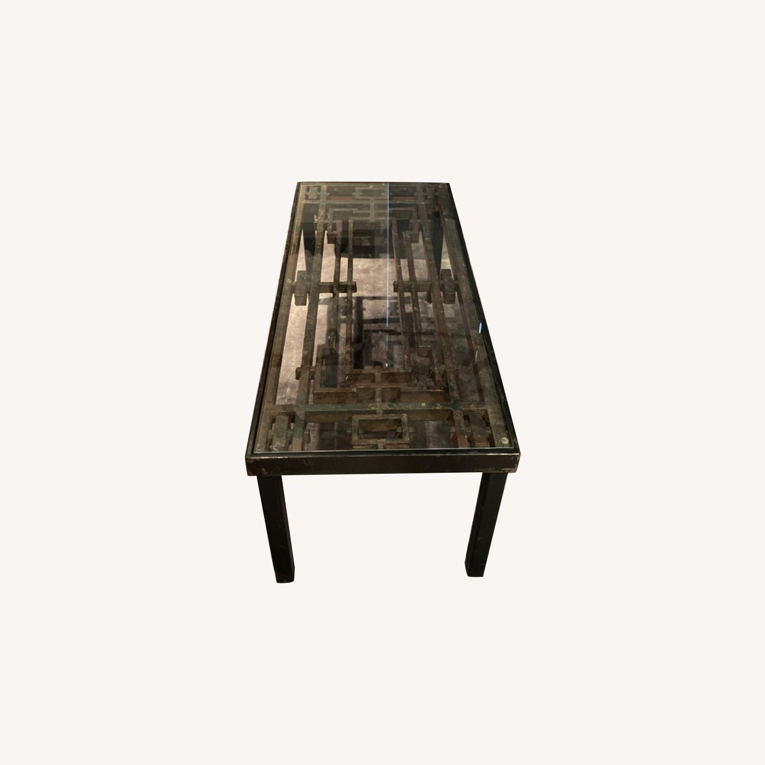 Antique Iron Glass Deco Coffee Table - image-0