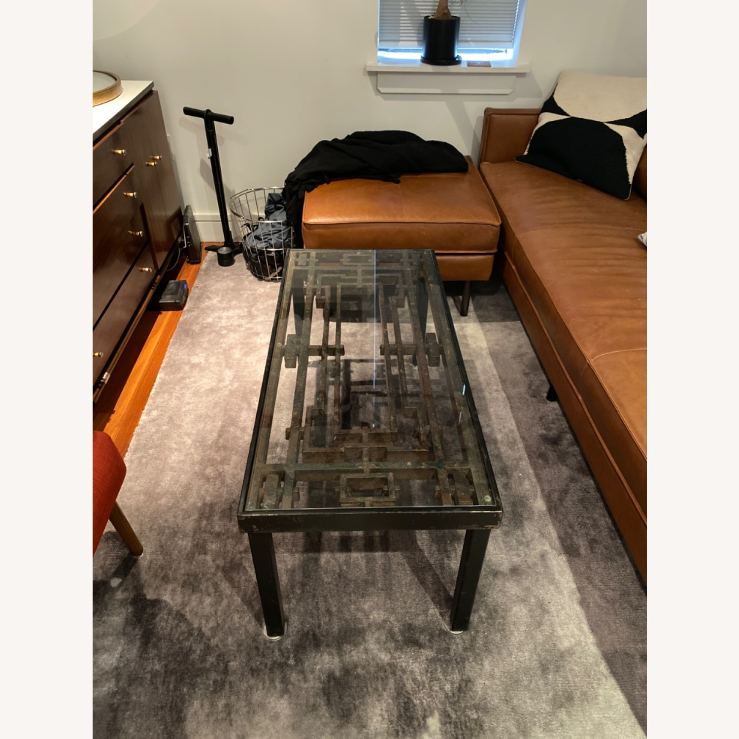 Antique Iron Glass Deco Coffee Table - image-1