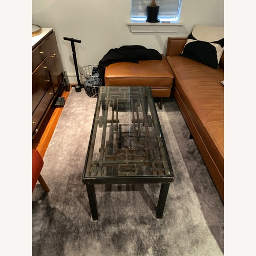 Used Antique Iron Glass Deco Coffee Table for sale on AptDeco