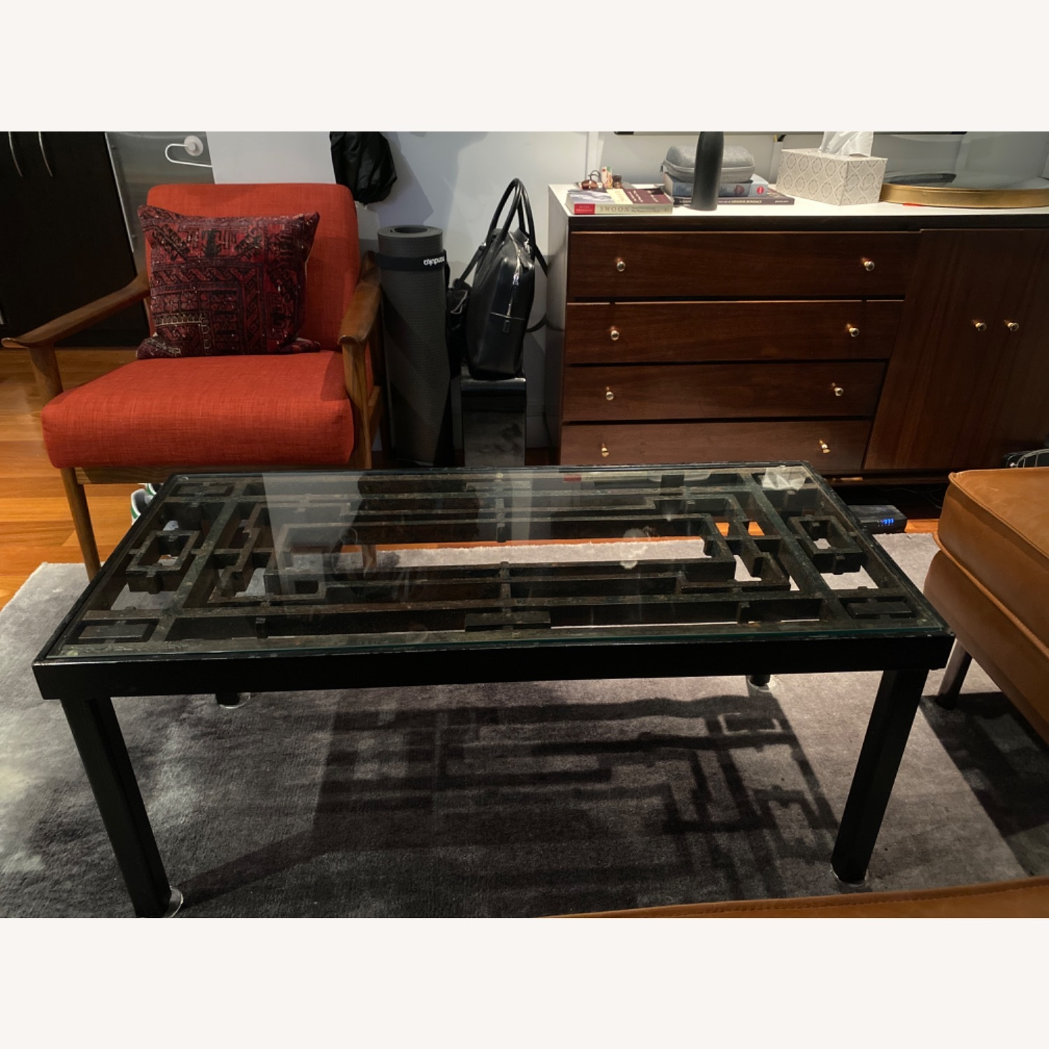 Antique Iron Glass Deco Coffee Table - image-3