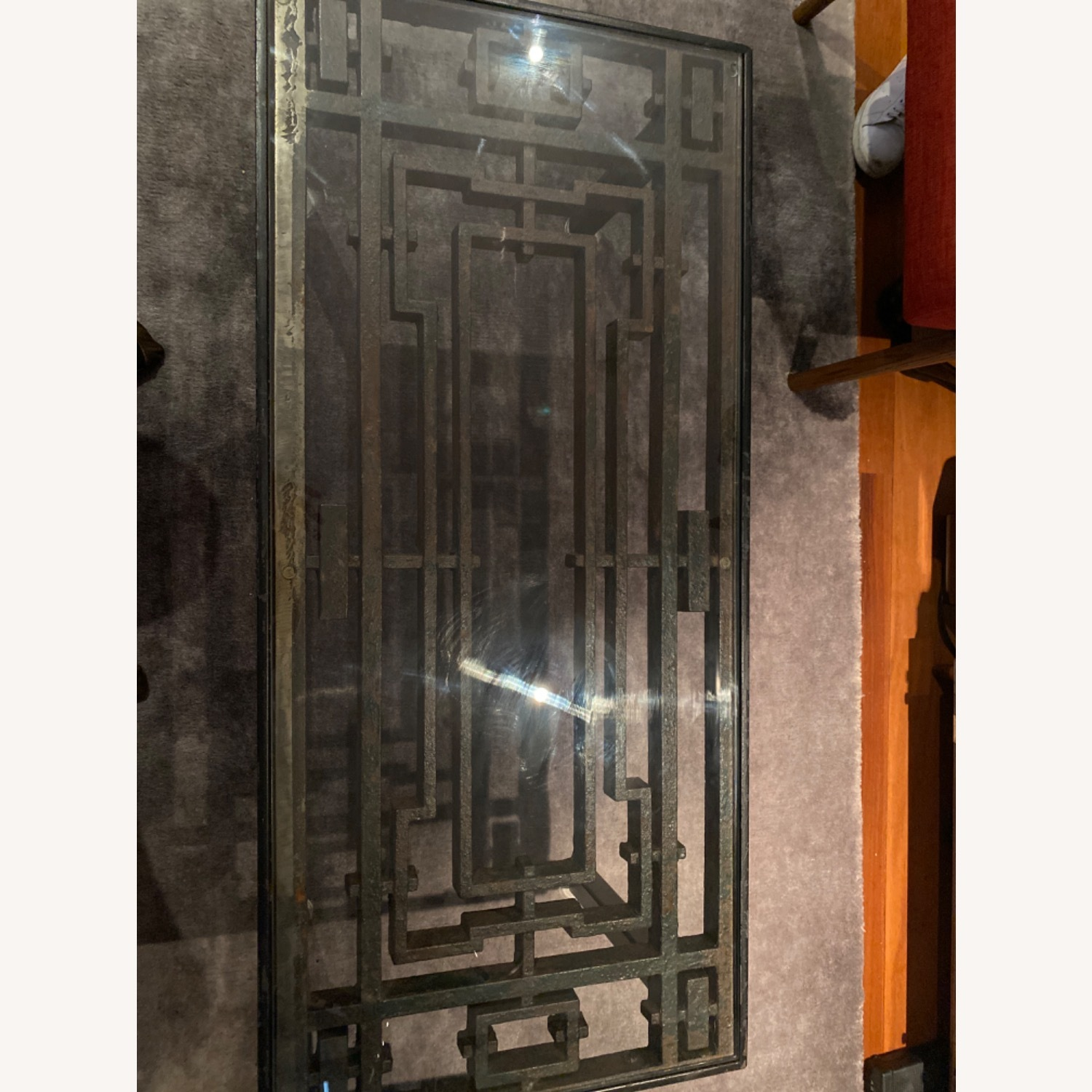 Antique Iron Glass Deco Coffee Table - image-5