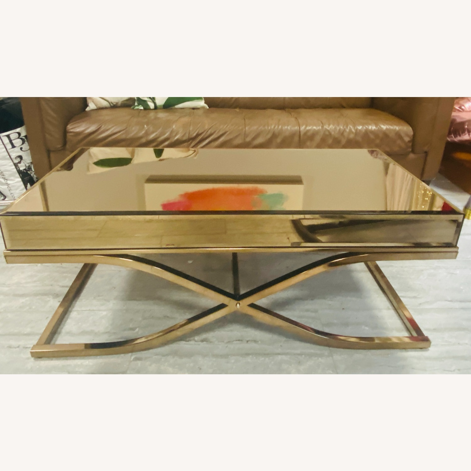 Laja Contemporary Gold Metal Coffee Table - image-3