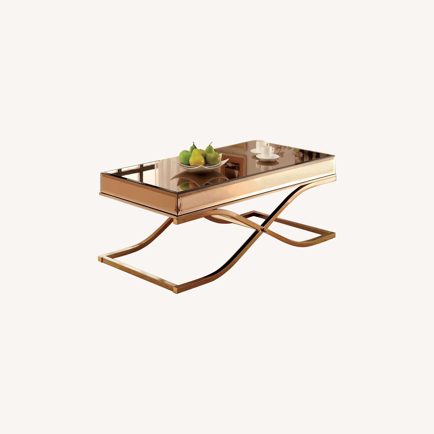 Laja Contemporary Gold Metal Coffee Table - image-0