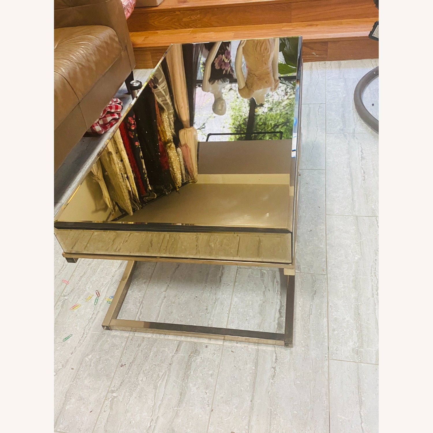 Laja Contemporary Gold Metal Coffee Table - image-2