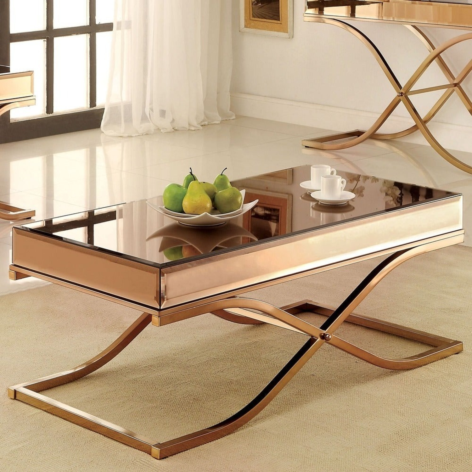 Laja Contemporary Gold Metal Coffee Table - image-1