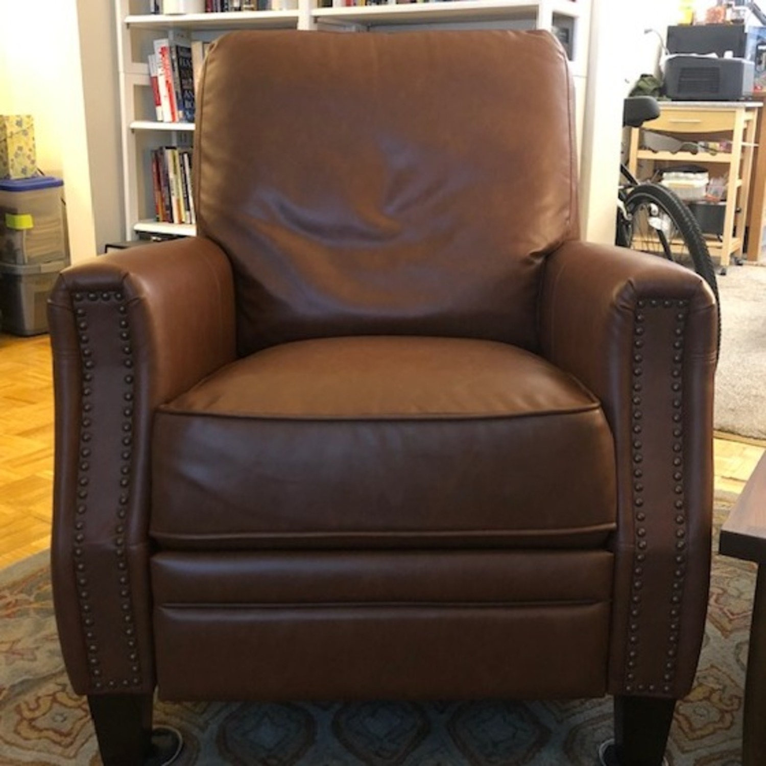 Target Pushback Recliner Camel Brown Faux Leather - image-1