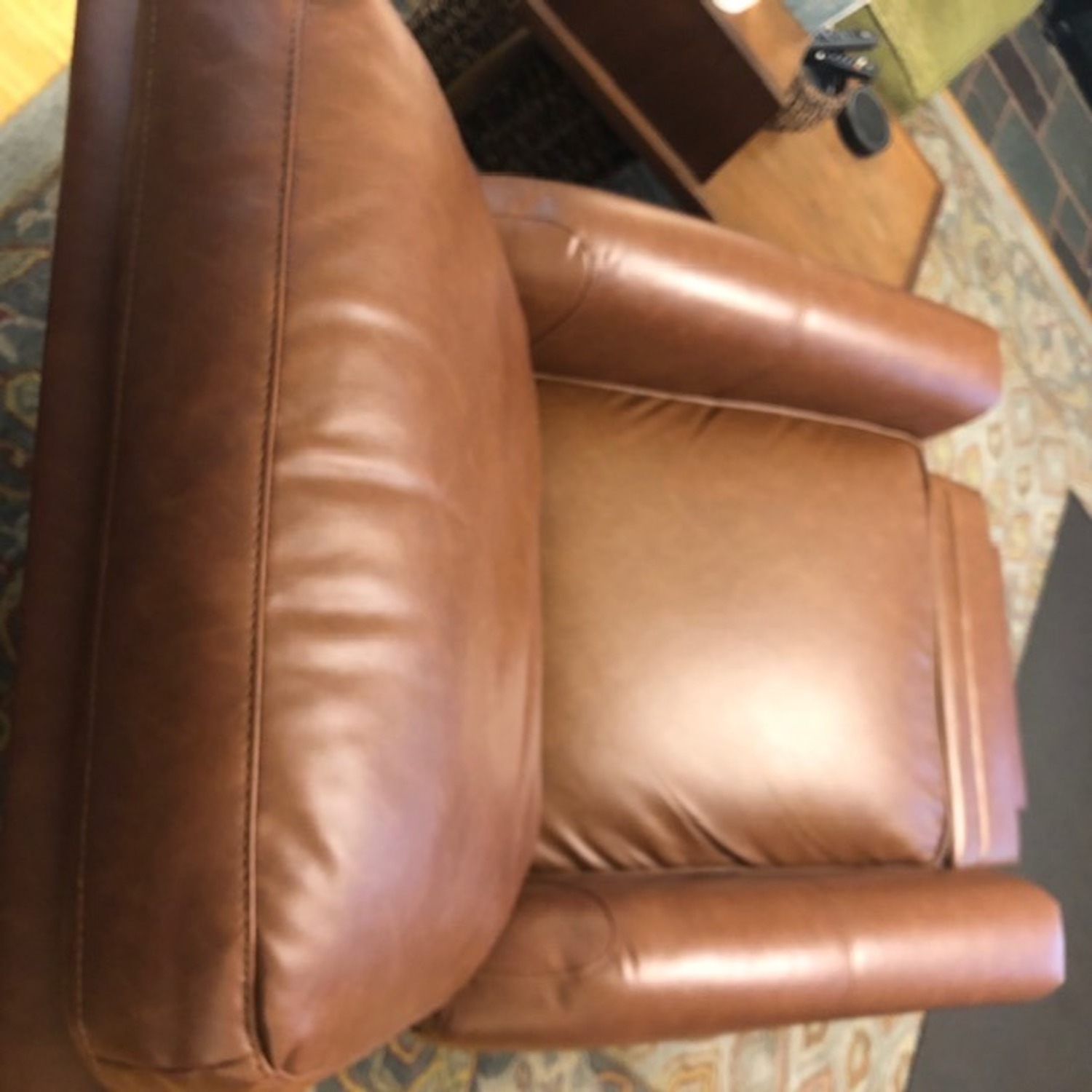 Target Pushback Recliner Camel Brown Faux Leather - image-2