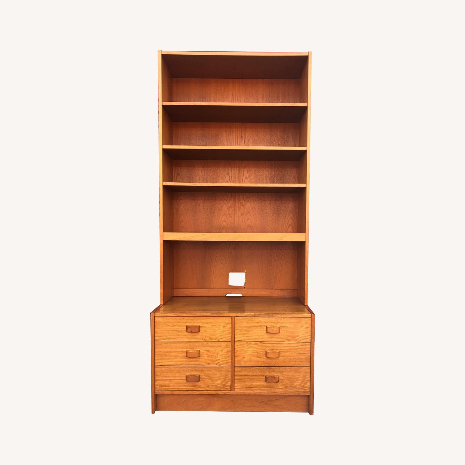 Danish Modern Teak Wall Unit with 6 Drawers - image-0