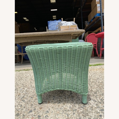 Used Maine Cottage Wicker Outdoor Bistro Table for sale on AptDeco