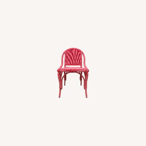 Used Two Maine Cottage Pink Outdoor Wicker Chairs for sale on AptDeco