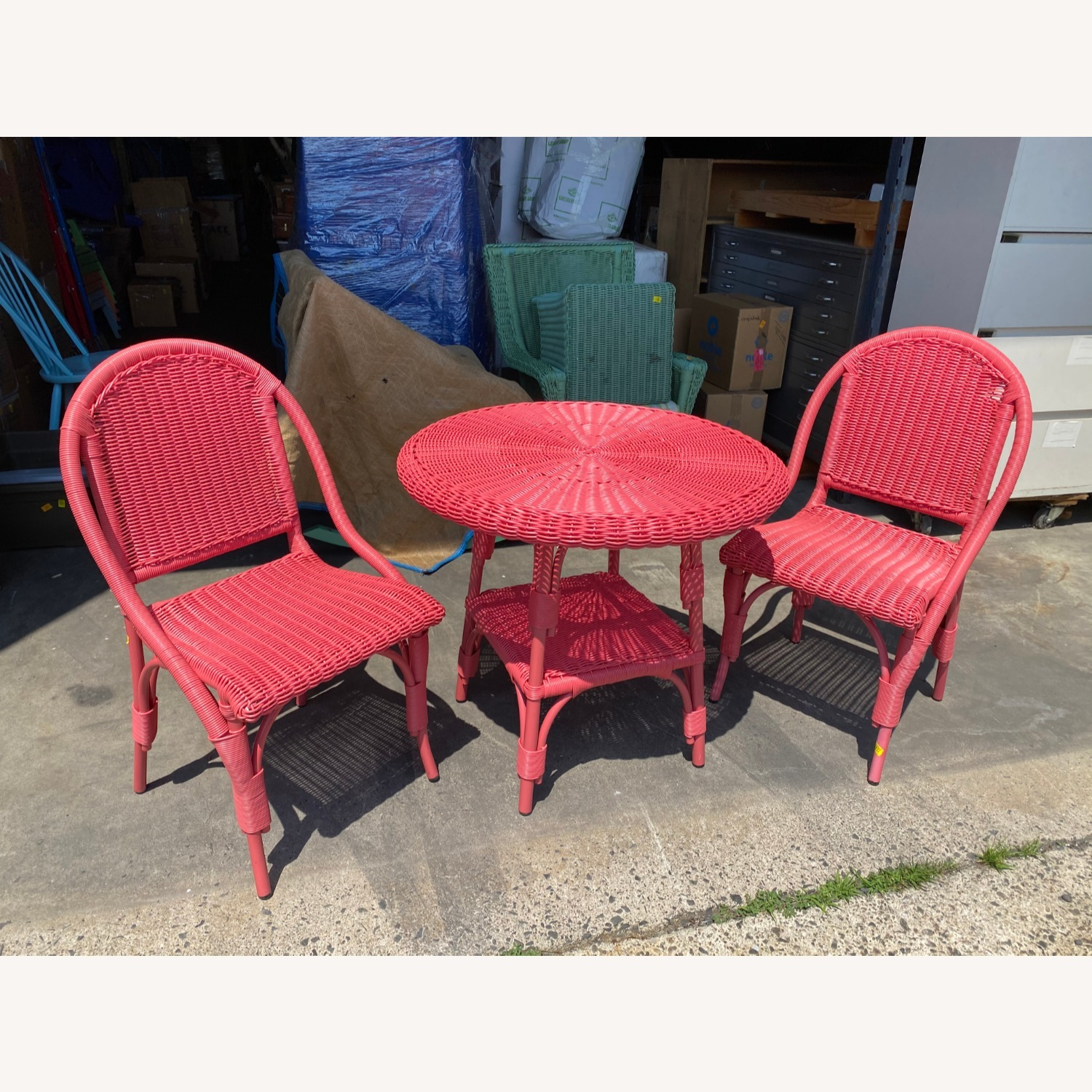 Two Maine Cottage Pink Outdoor Wicker Chairs - image-4
