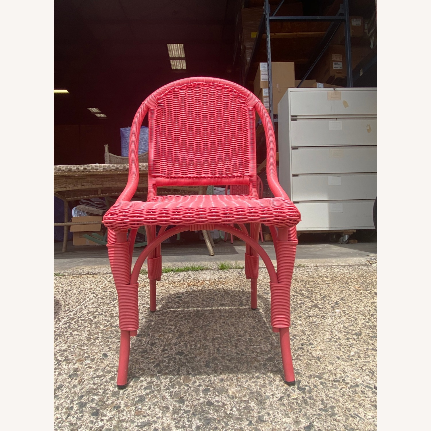 Two Maine Cottage Pink Outdoor Wicker Chairs - image-1