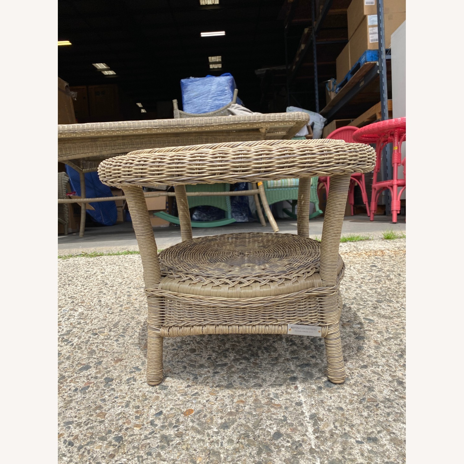 Restoration Hardware Wicker Bistro Table - image-1