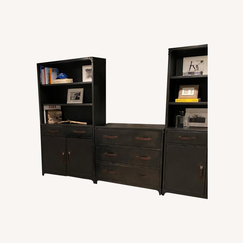 Pair of Restoration Hardware Metal Bookcases - image-0