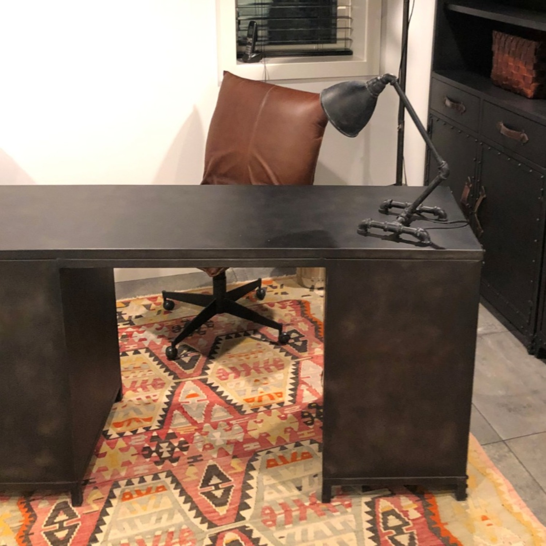 Restoration Hardware Metal Desk with Leather Pulls - image-1