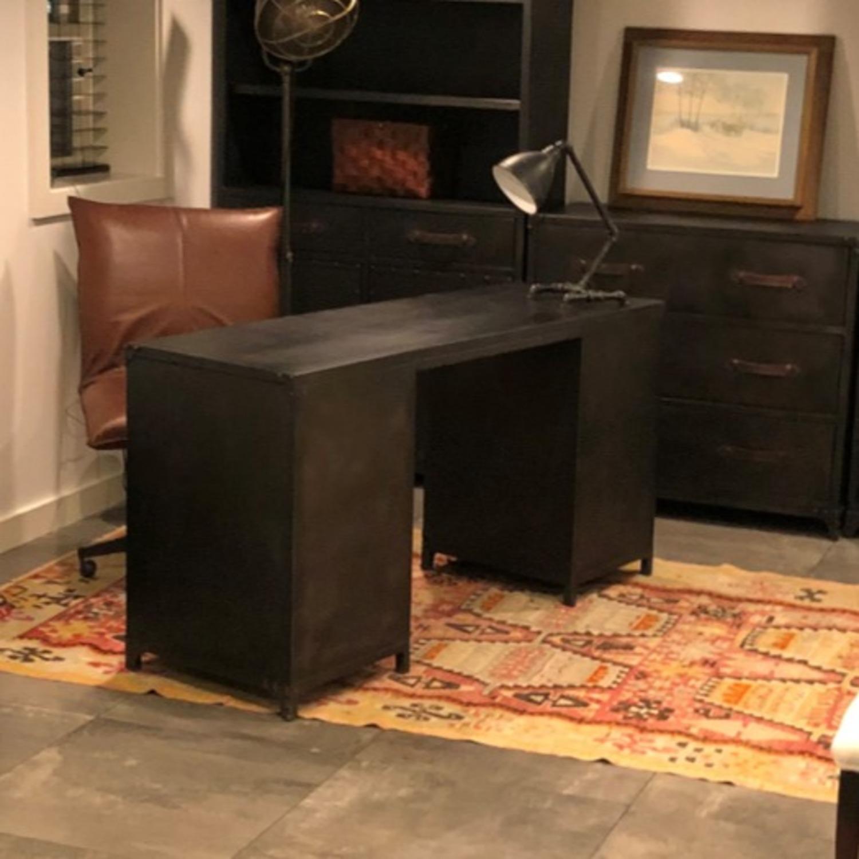 Restoration Hardware Metal Desk with Leather Pulls - image-2