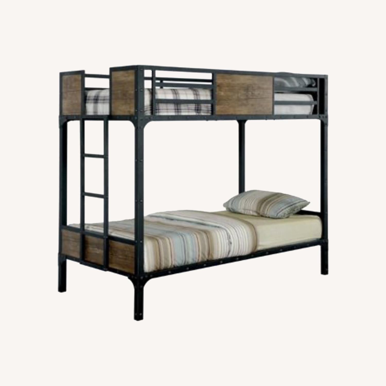 Furniture of America Industrial Metal Wood Twin Bunk Bed - image-0