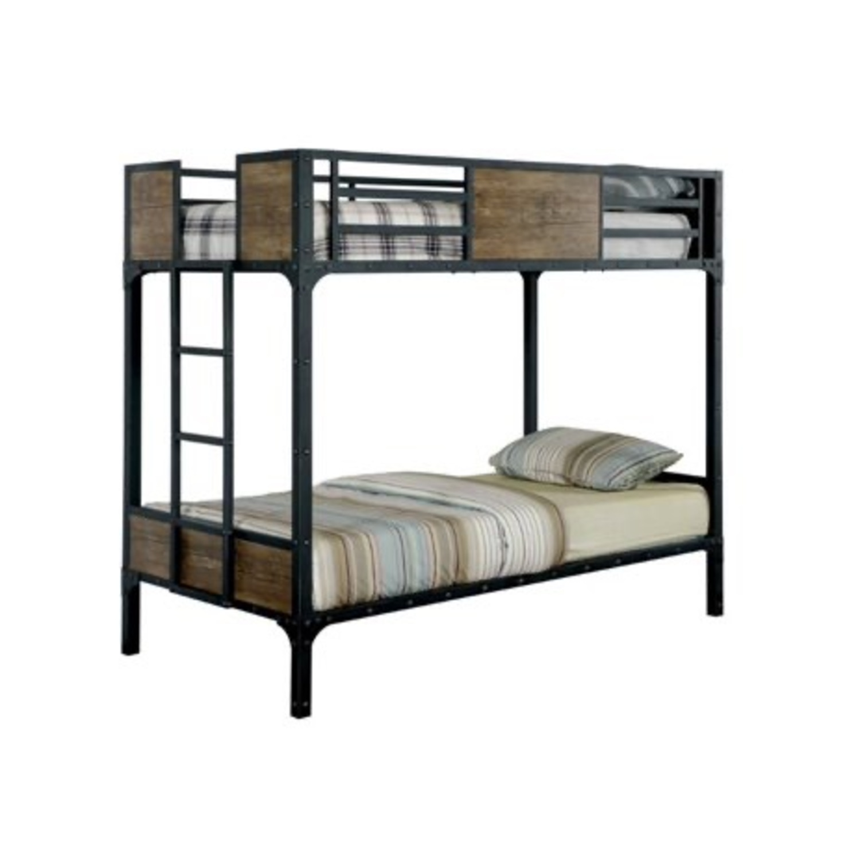 Furniture of America Industrial Metal Wood Twin Bunk Bed - image-1