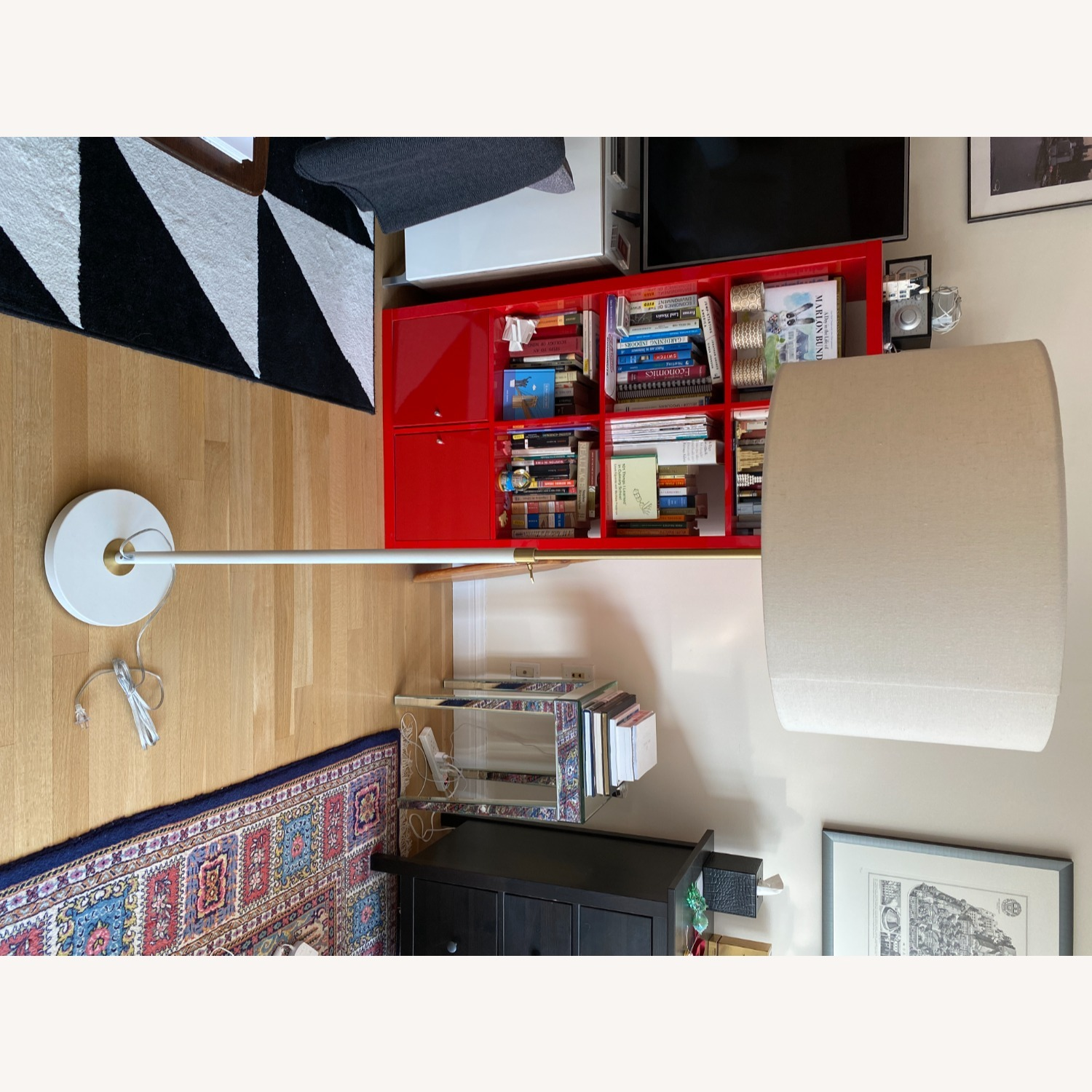 White West Elm Stand Lamp - image-5