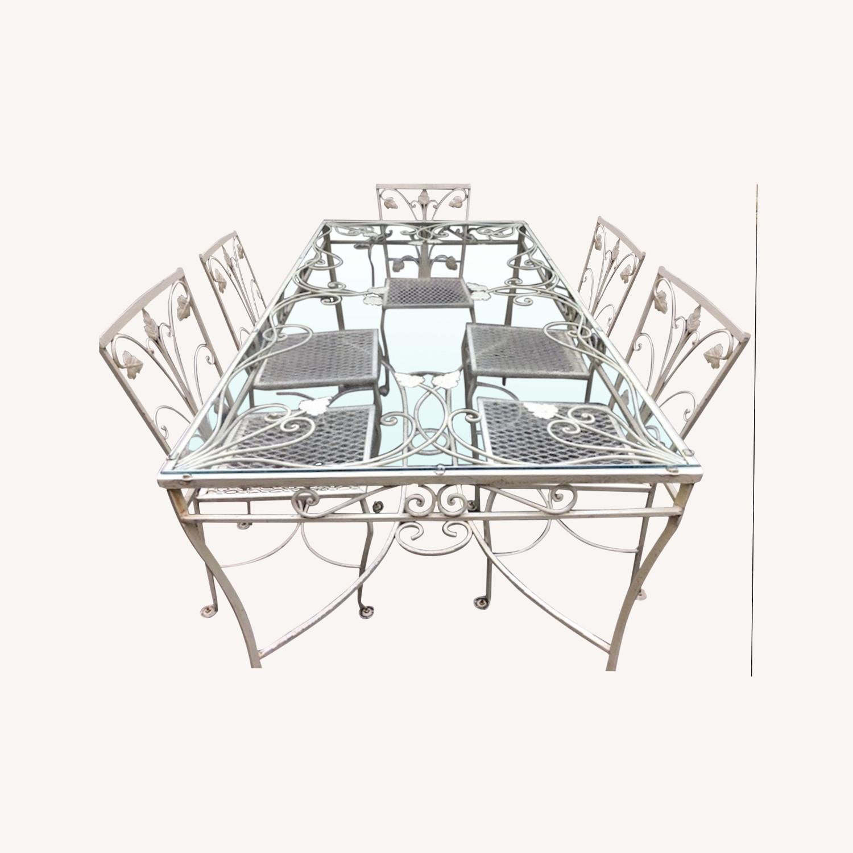 Vintage Mid-Century Wrought Iron Dining Set - image-0