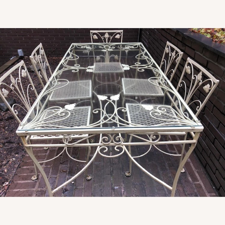 Vintage Mid-Century Wrought Iron Dining Set - image-1