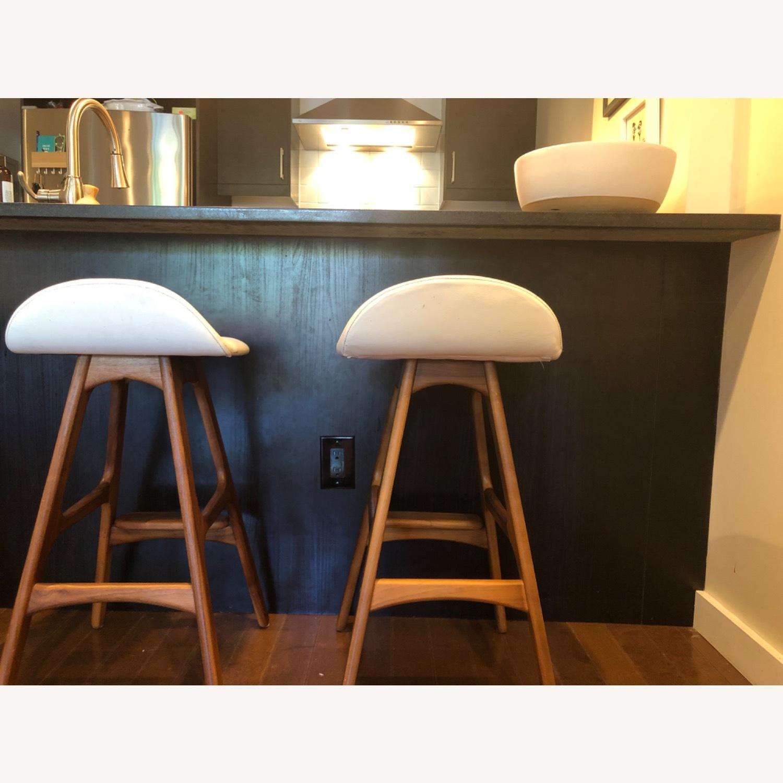 Modern Leather & Walnut Counter Stools - image-7