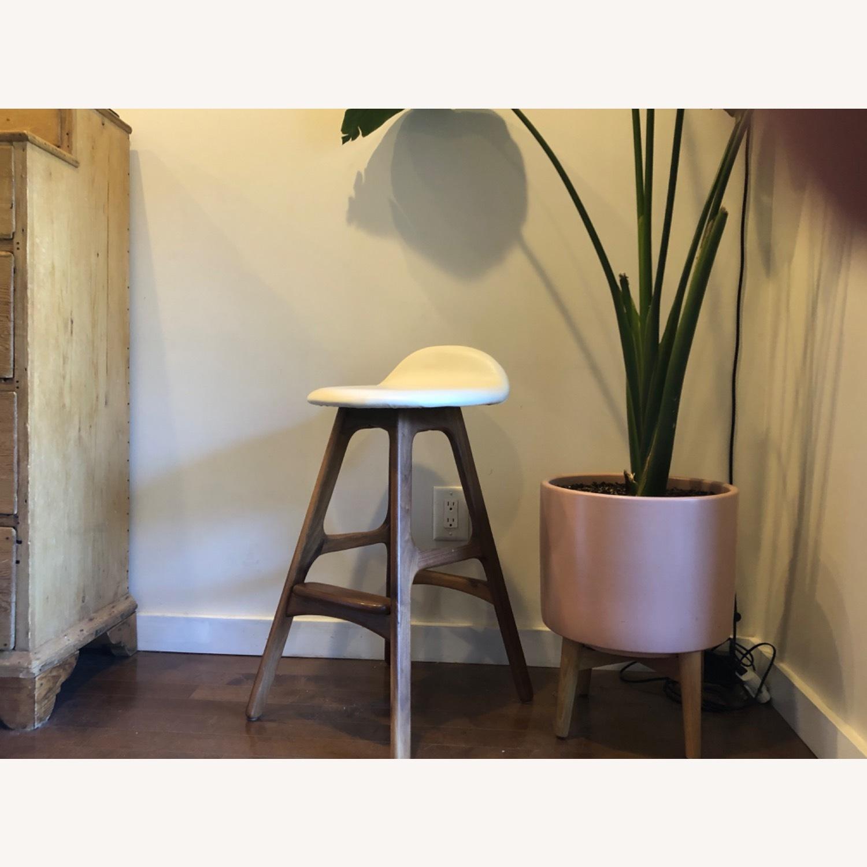 Modern Leather & Walnut Counter Stools - image-1