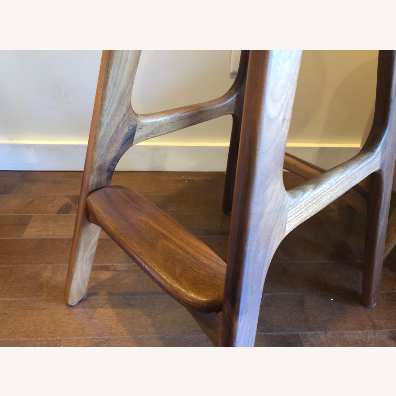 Modern Leather & Walnut Counter Stools - image-3