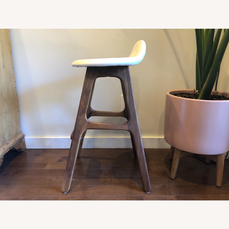 Modern Leather & Walnut Counter Stools - image-2