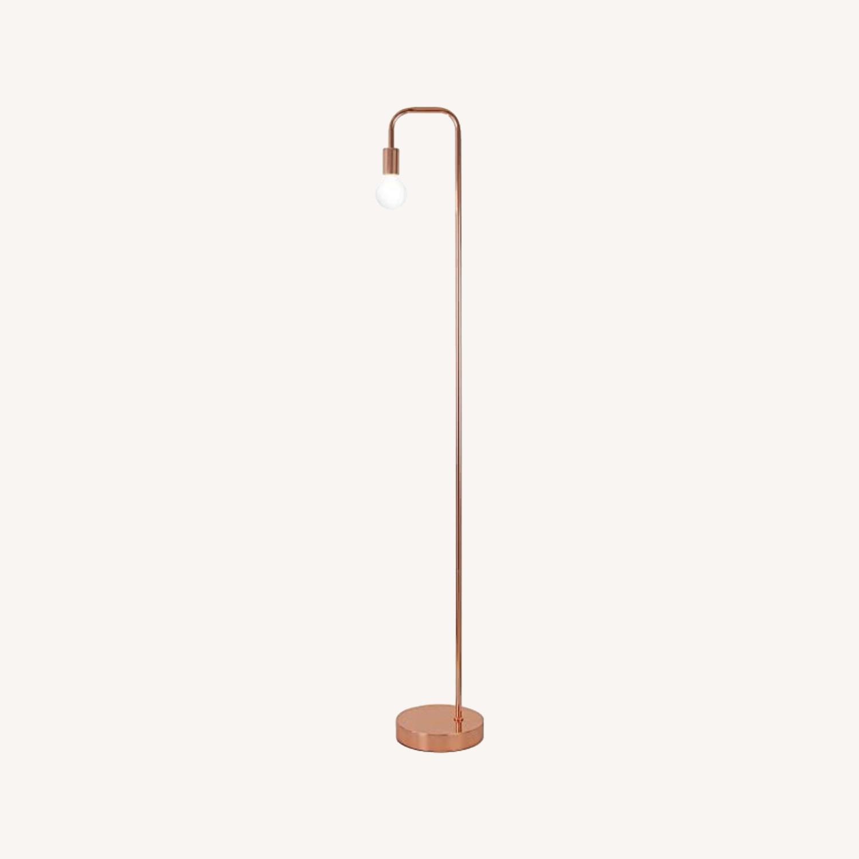 Copper/Rose Gold Minimal Bulb Floor Lamp - image-0