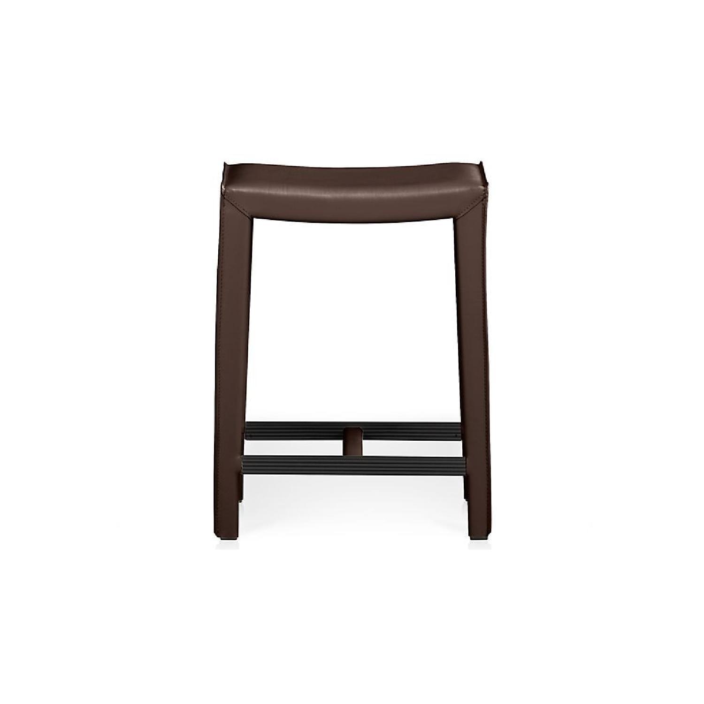 Crate & Barrel Dark Brown Folio Leather Counter Stools - image-5