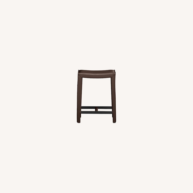 Crate & Barrel Dark Brown Folio Leather Counter Stools - image-0