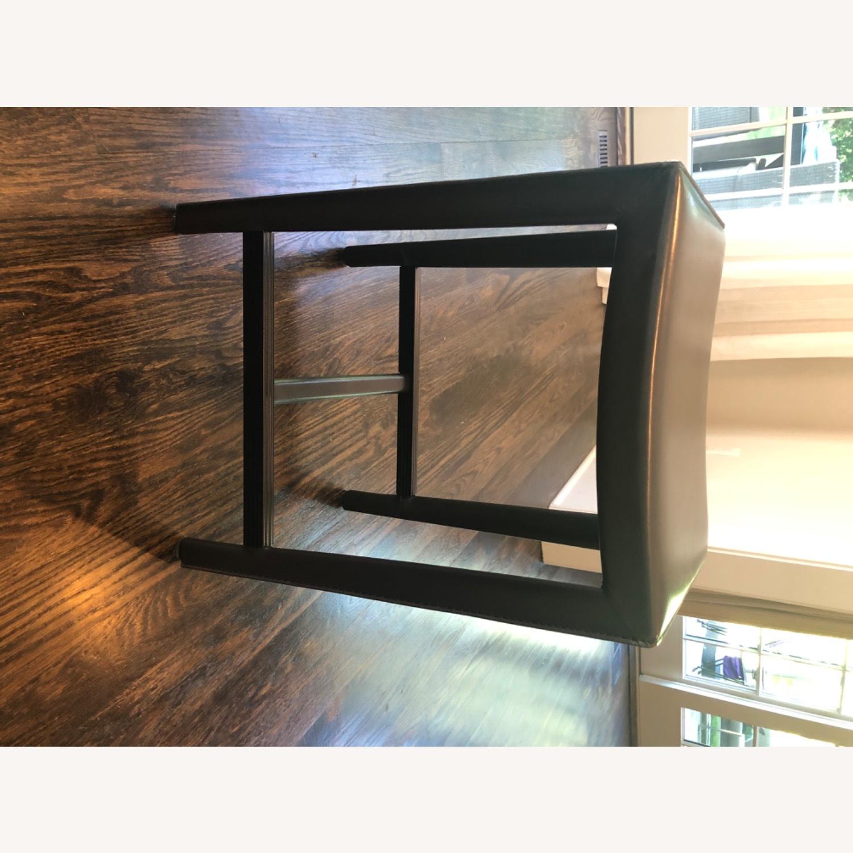 Crate & Barrel Dark Brown Folio Leather Counter Stools - image-1