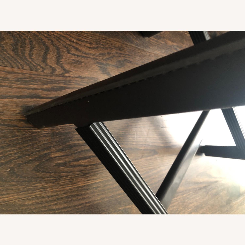 Crate & Barrel Dark Brown Folio Leather Counter Stools - image-4