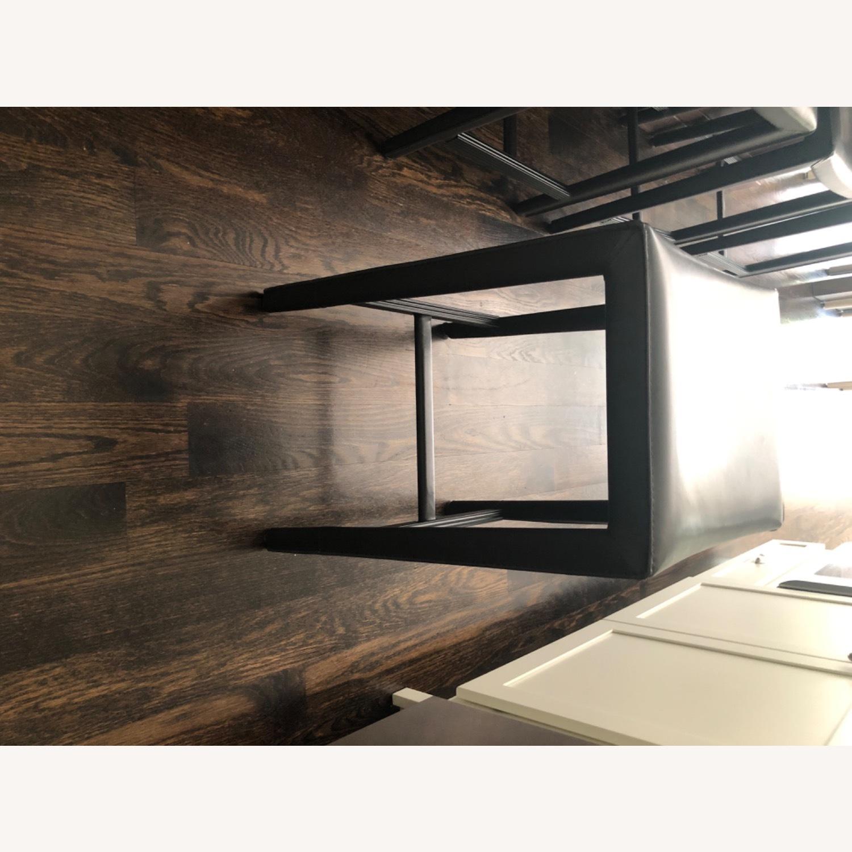 Crate & Barrel Dark Brown Folio Leather Counter Stools - image-3