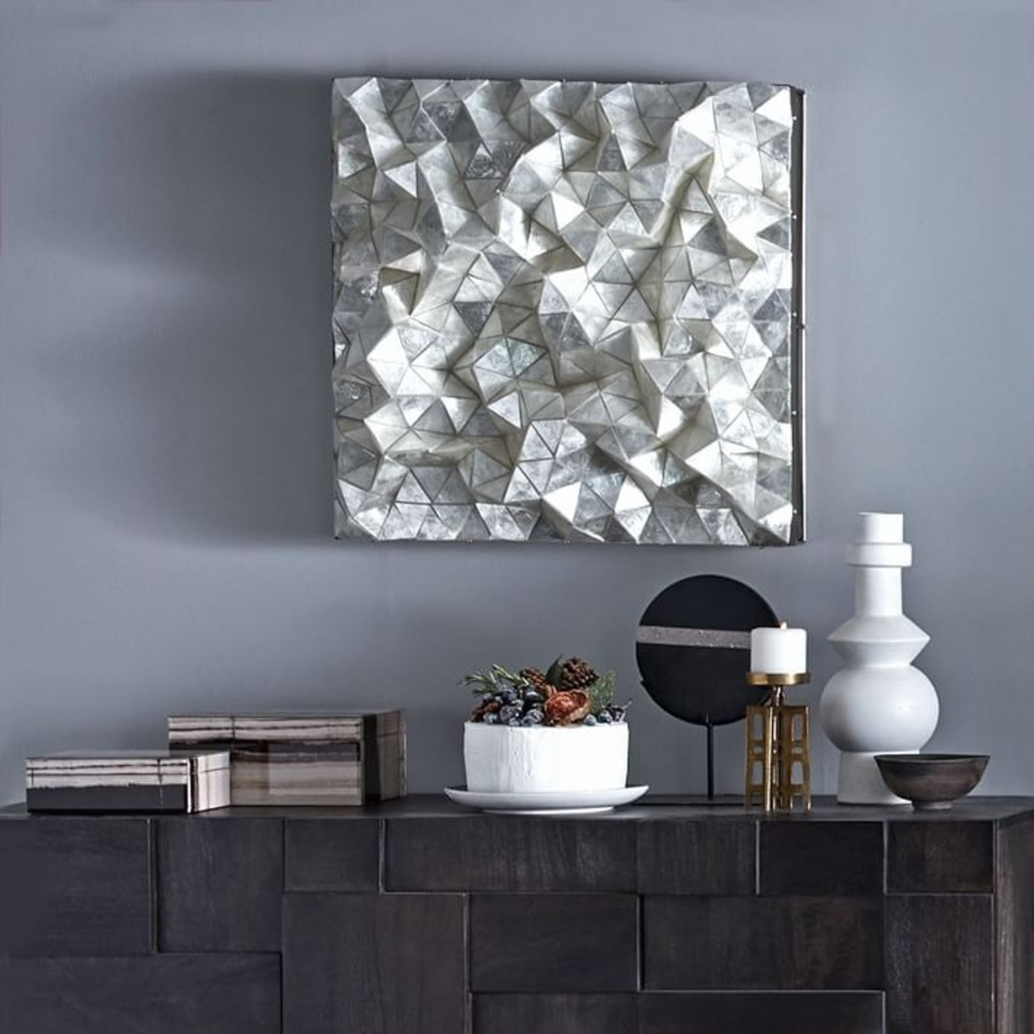 West Elm Capiz Wall Art, Faceted Square - image-1