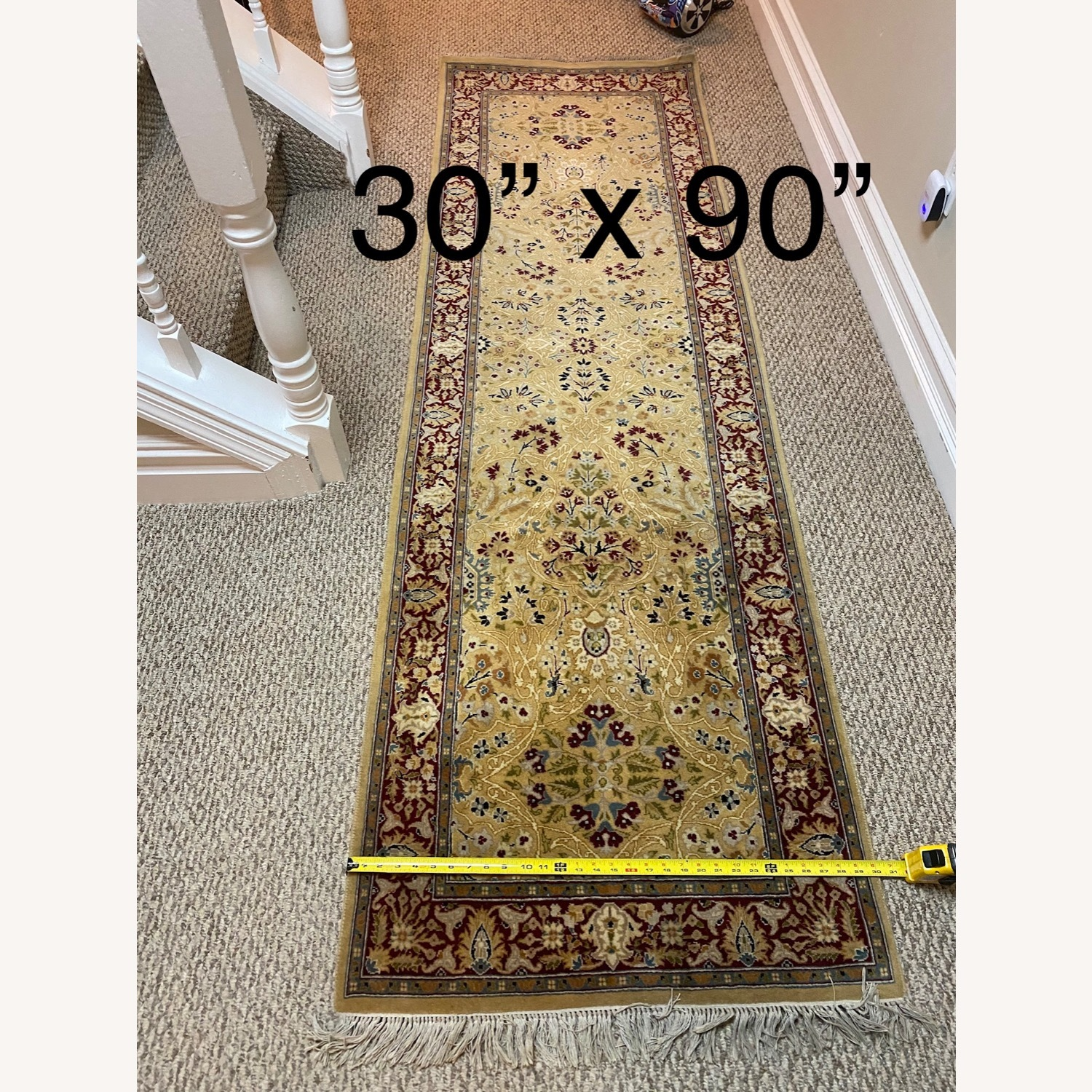 Bloomingdale's Gold & Red Hand Knotted Runner - image-2